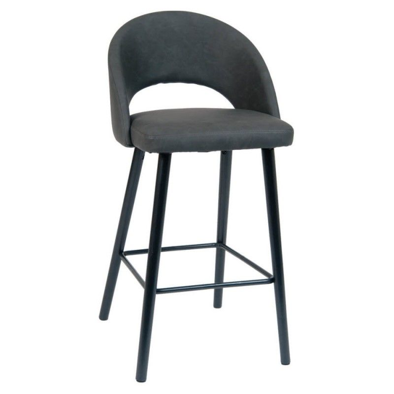 Dark Grey Vinyl Bar Stool With Black Beechwood Legs Vinyl Bar Stool Bar Stools Restaurant Bar Stools