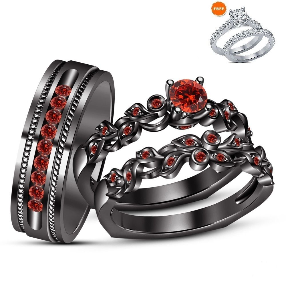 Men S Women S Trio Engagement Ring Set Red Garnet Black Gold
