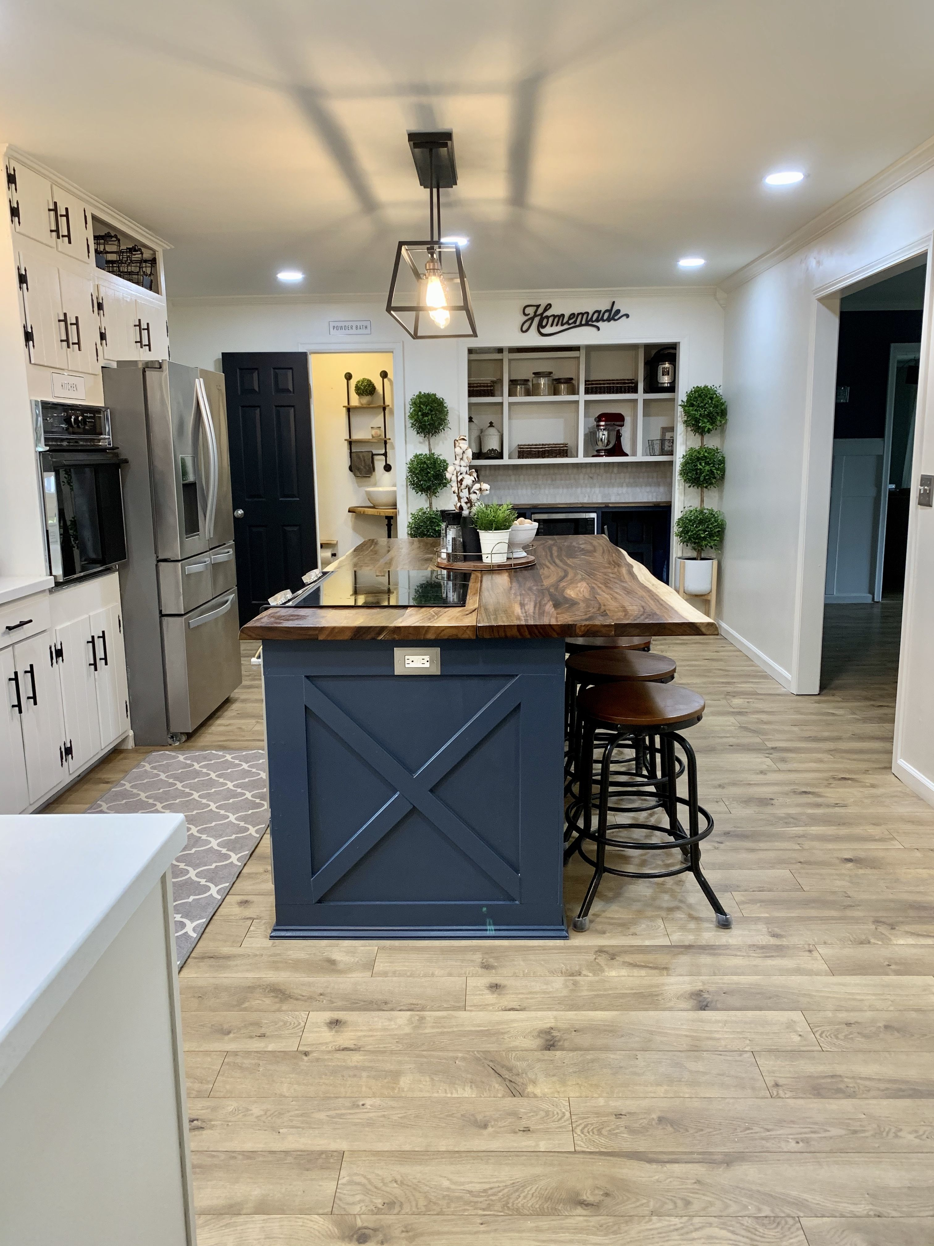 Modern Farmhouse Kitchen With Butcher Block Island In 2020 Kitchen Remodel Small Modern Farmhouse Kitchens Ikea Kitchen Island