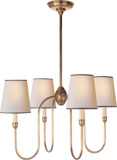 VENDOME SMALL CHANDELIER in Aged Bronze, no trim on shade, for dining room