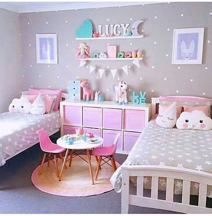 Two bedroom for girls. Soft pastels. in 2019 | Girl bedroom ...