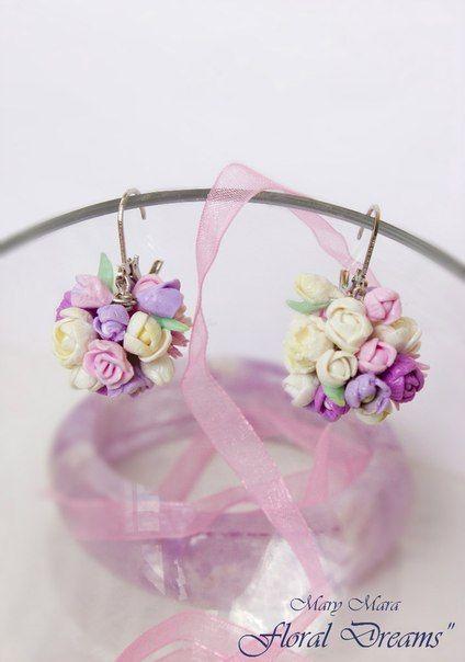 fimo  bouquet earrings