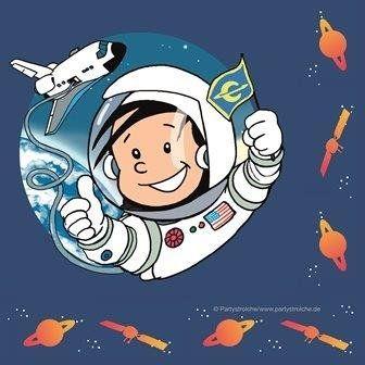 20 Servietten * Astronaut Flo * // Kindergeburtstag Kinder Geburtstag Feier Set Mottoparty Partygeschirr Deko Fest Party Motto Deko Weltraum Space Alien Raumschiff All Napkin Papierservietten