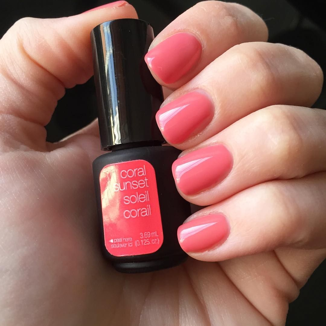 Coral Sunset With Images Coral Gel Nails Sensational Nails