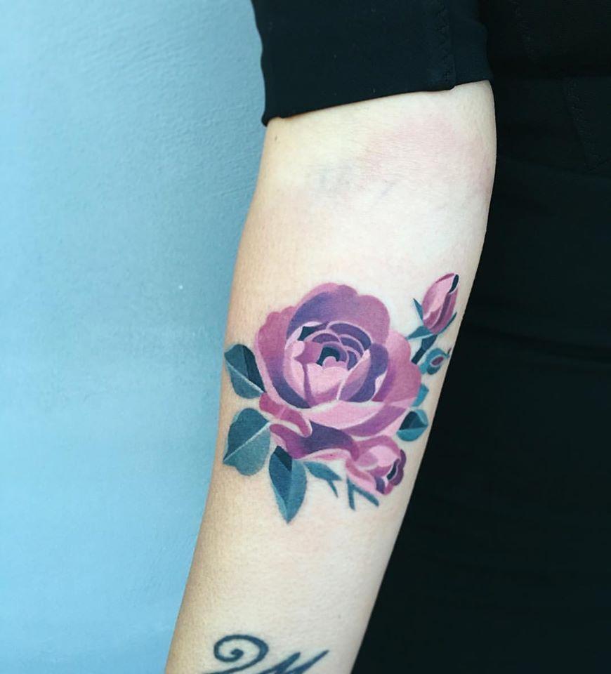 Purple Watercolor Rose Tattoo Purple Rose Tattoos Aesthetic