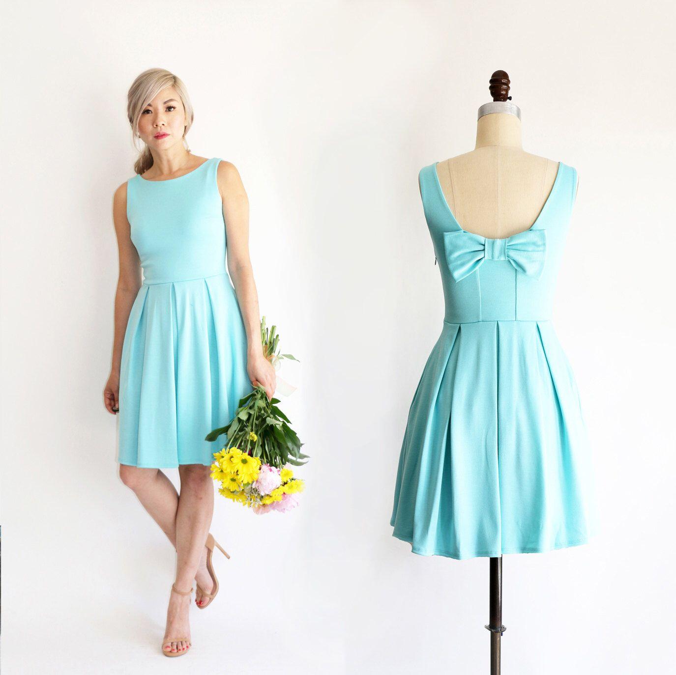 JANUARY | Aqua - Light seafoam teal bridesmaid dress with back bow ...