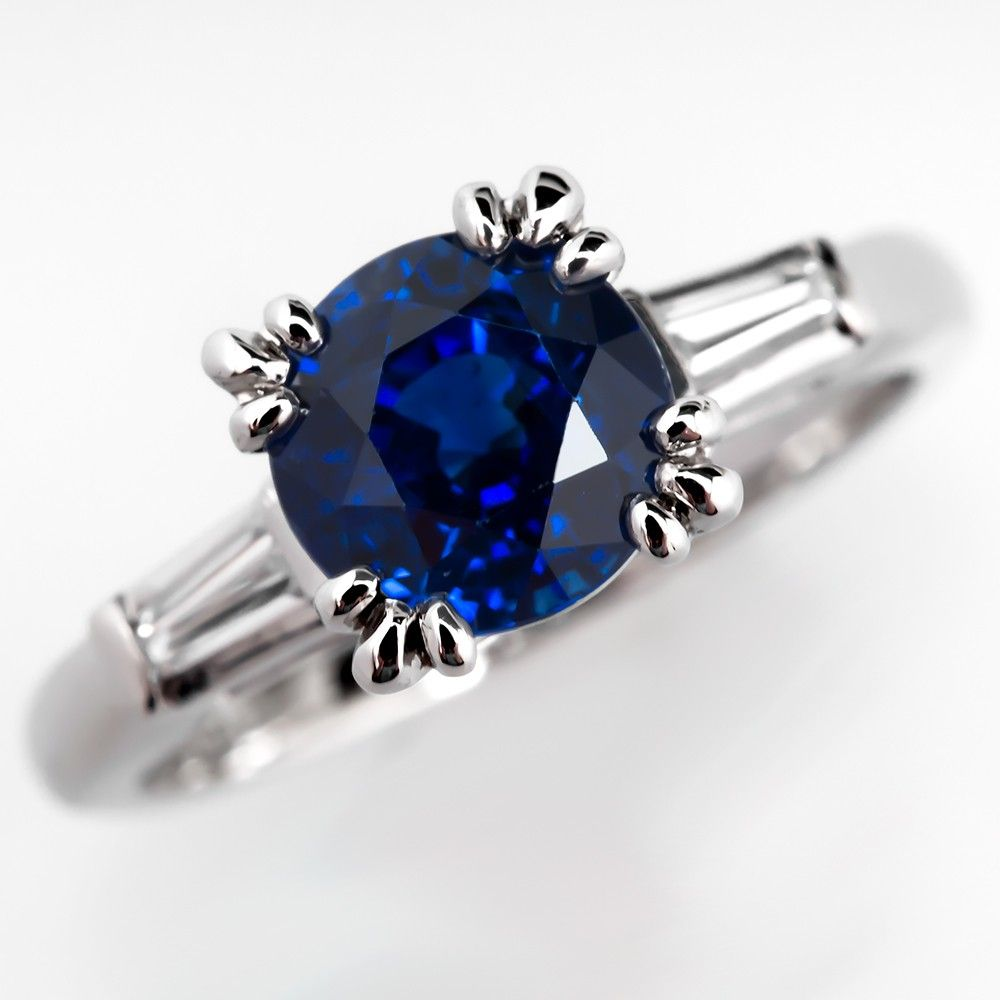 rings blue diamond vintage pin sapphire engagement