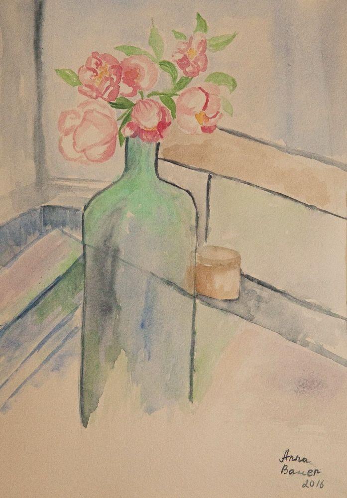 Original Aquarell Watercolour  Blumen    21x29,7 cm