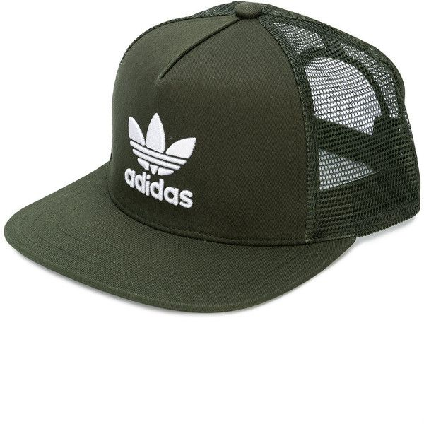new style c75ad e38e9 Adidas Adidas Originals Trefoil heritage trucker cap ( 41) ❤ liked on Polyvore  featuring accessories, hats, green, flat bill mesh hats, adidas, ...
