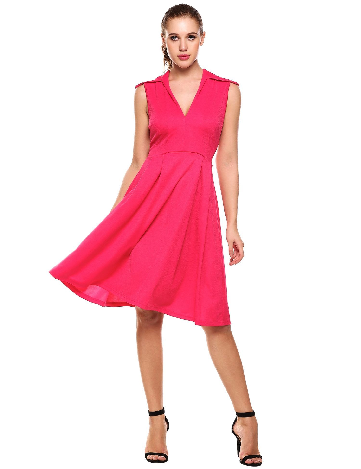 Rose red vintage style sleeveless swing party dress swings rose