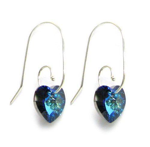 Swarovski Crystal Love Bermuda Blue Heart Sterling Silver Dangle Earrings Swirl Hook