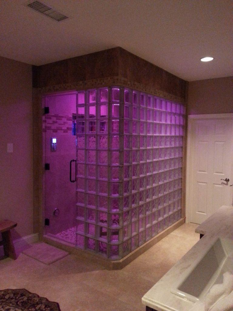 Glass Block Steam Shower With Kohler Spa Shower System With Led Lights Atlanta G Shower Remodel Glass Block Shower Wall Glass Block Shower
