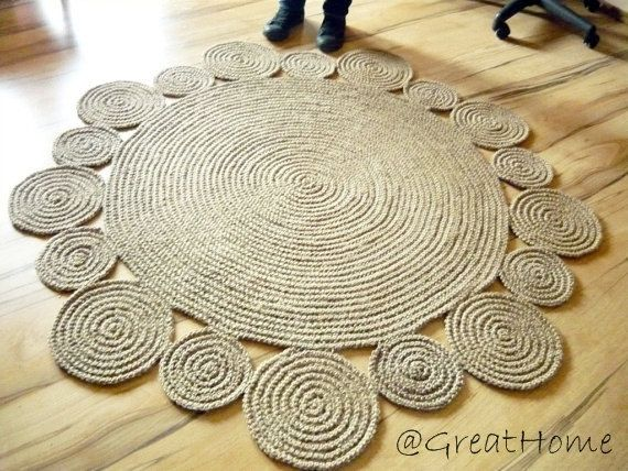 Playful Rug Area Braided Jute Handmade Natural No 001