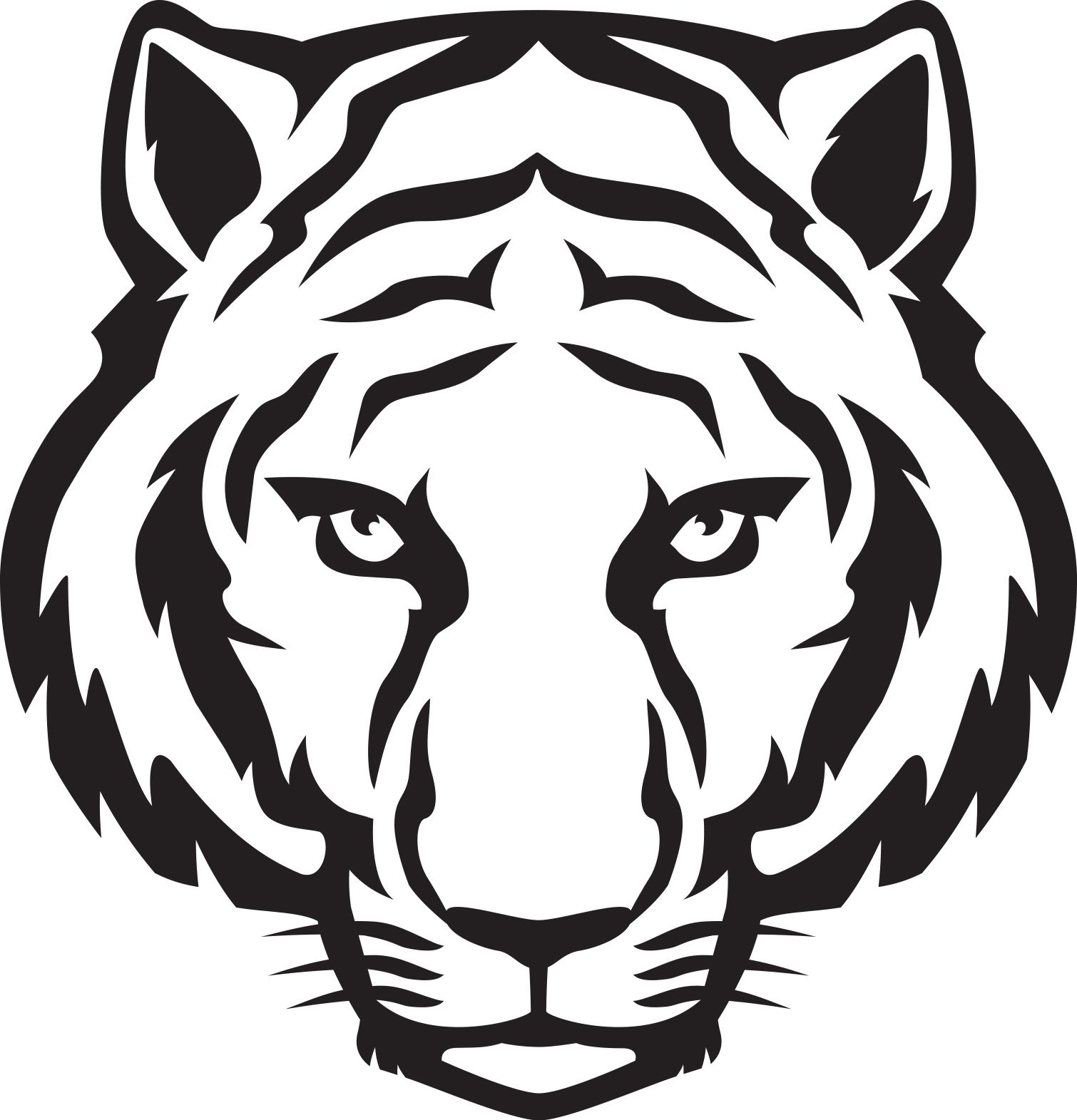 Tiger Head Outline Tiger Eyes Black And White Clipart