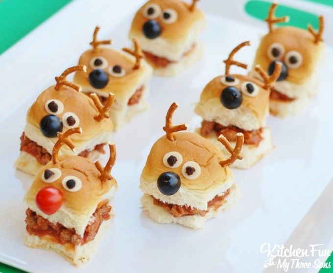 Fun Christmas Party Ideas For Kids Part - 41: Christmas Party Idea - Reindeer Sloppy Joe Sliders With Kingu0027s Hawaiian  Bread - Kitchen Fun With My 3 Sons (christmas Recipes For Kids Xmas)