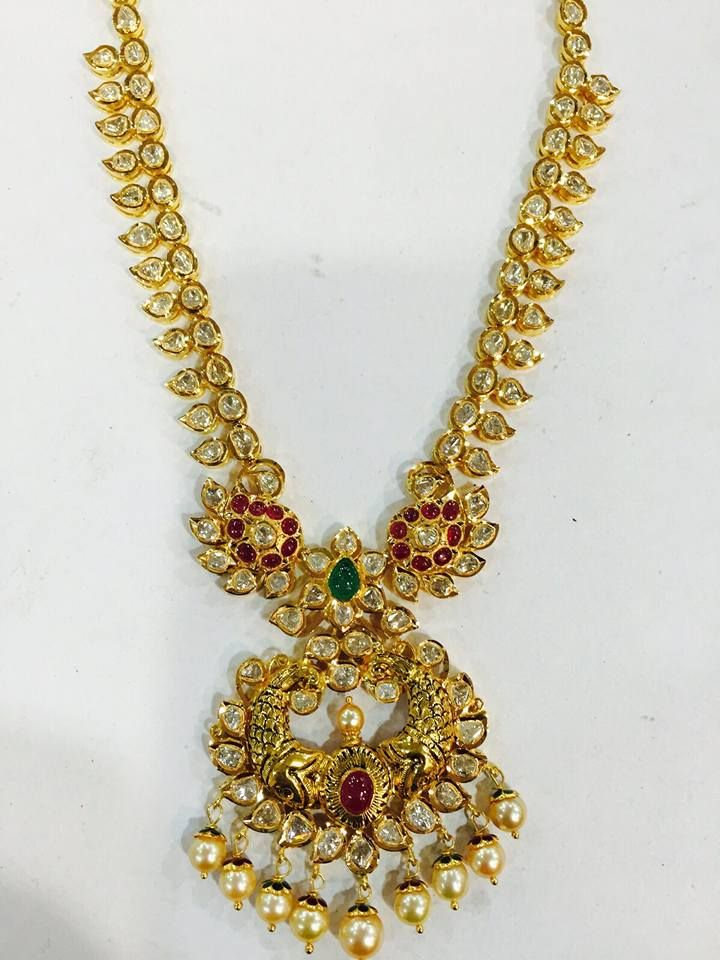 22K Traditional Gold Long Necklace Design | Necklace designs ...