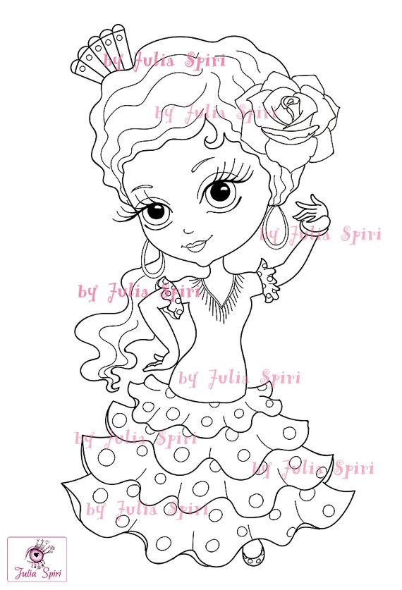 Digital stamps Flamenco Sevillana Spanish Girl Craft Big Eyes