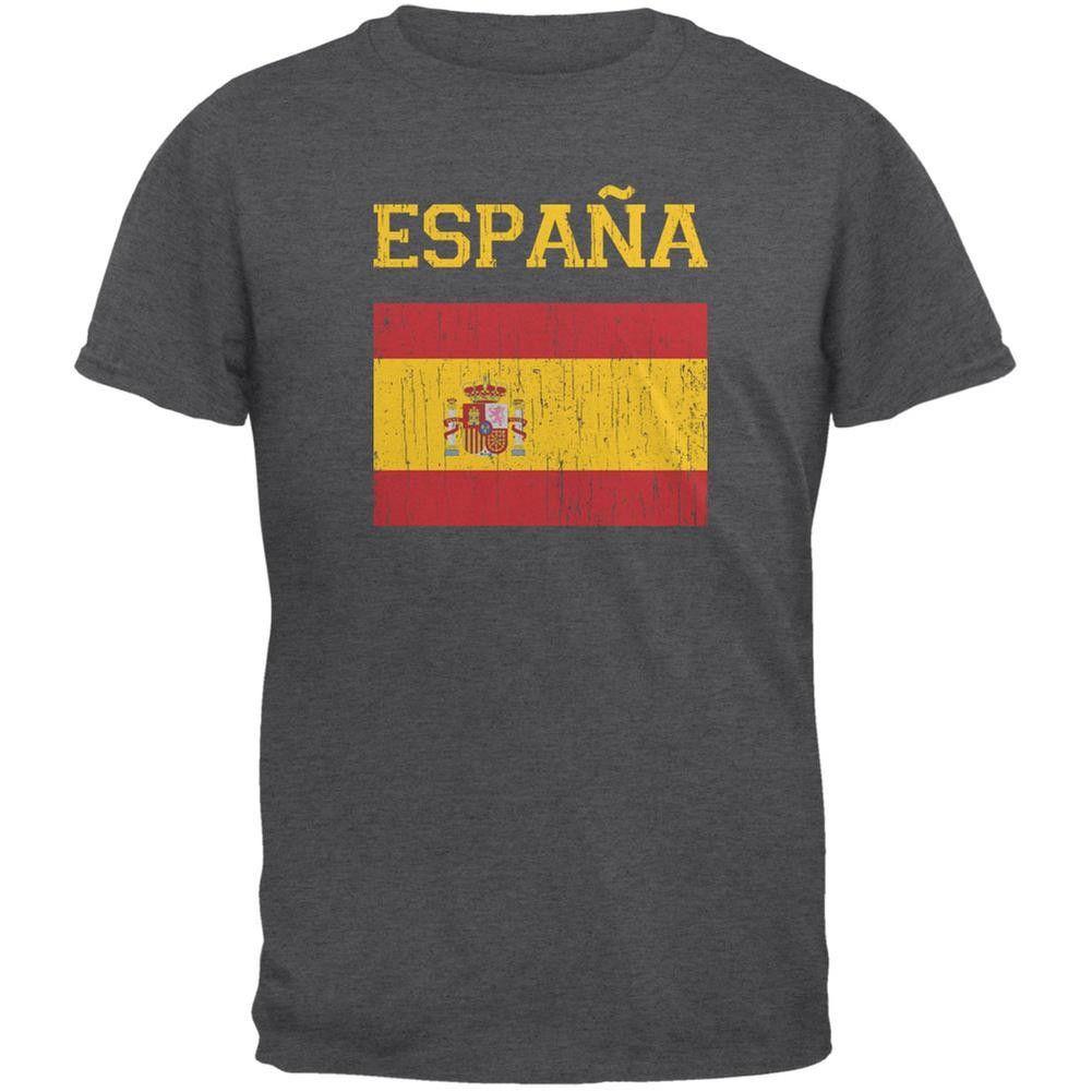 World Cup Distressed Flag Espana Black Adult T-Shirt