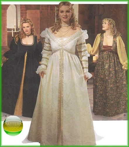Renaissance Wedding Dresses Plus Size: Simplicity 9228 EVER AFTER Medieval Princess Dress/Gown