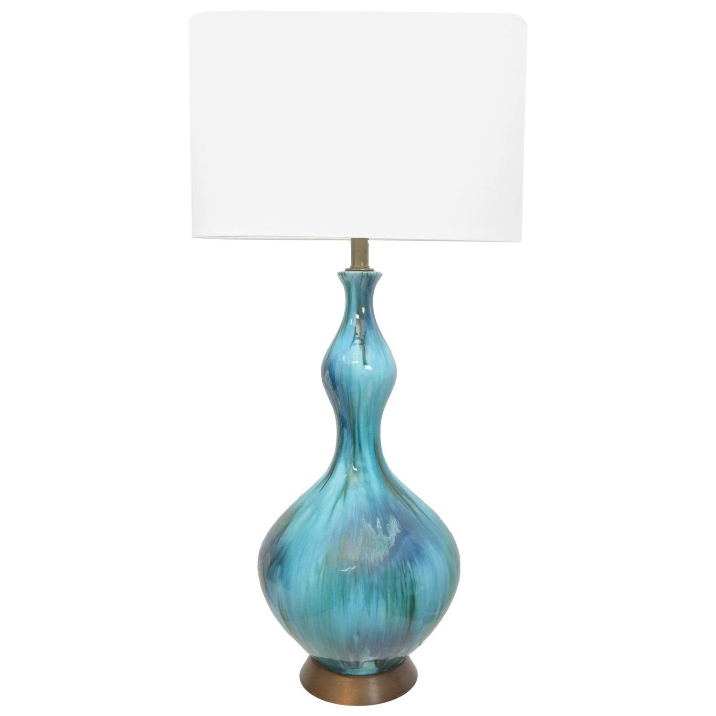 Vibrant Blue Drip Glaze Pottery Lamp  1