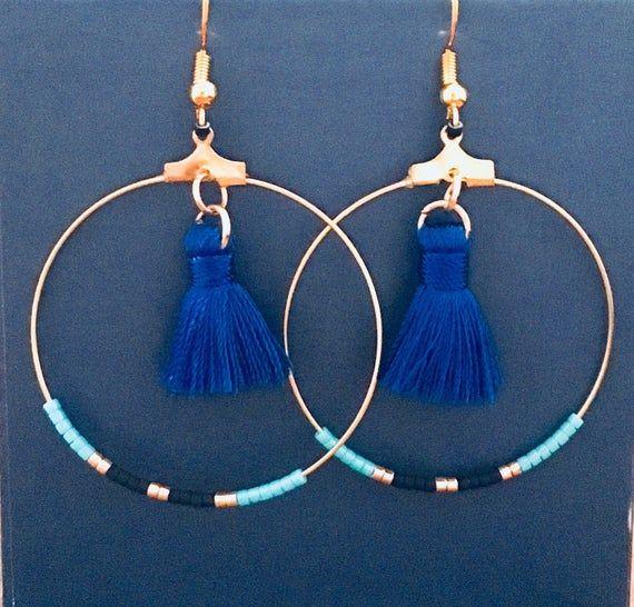 Creole earrings with pompom and miyuki beads