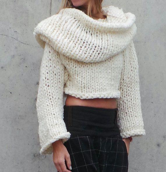 suéter de gran tamaño / marfil / grueso / con capucha por ileaiye ...