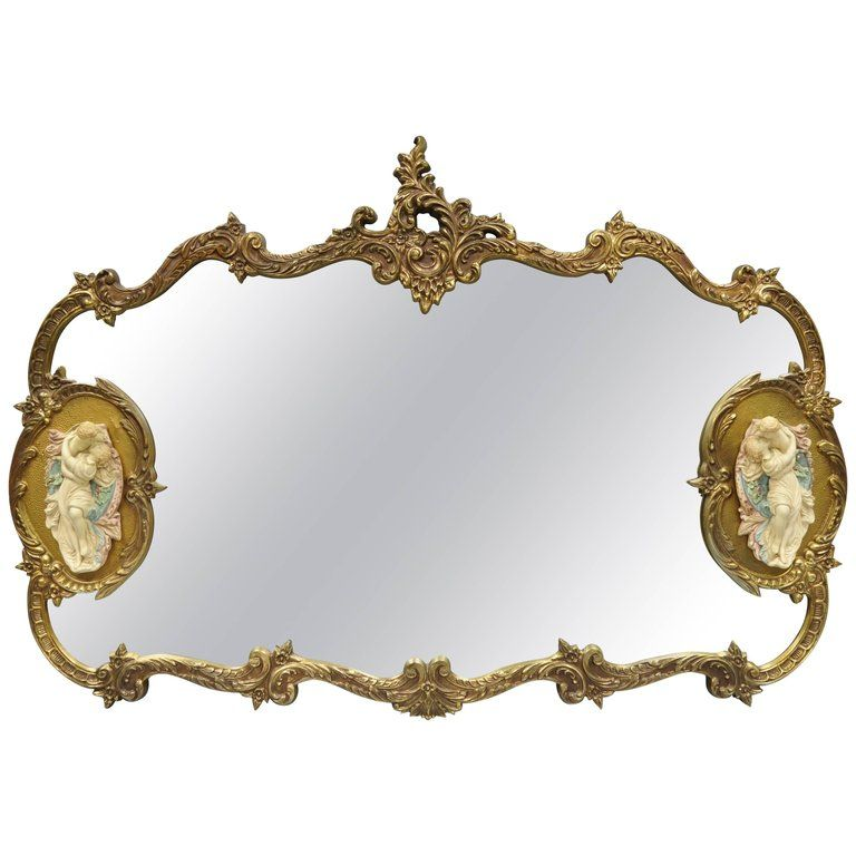 Large French Rococo Style Gold Wall, Vintage Brass Rococo Wall Mirror