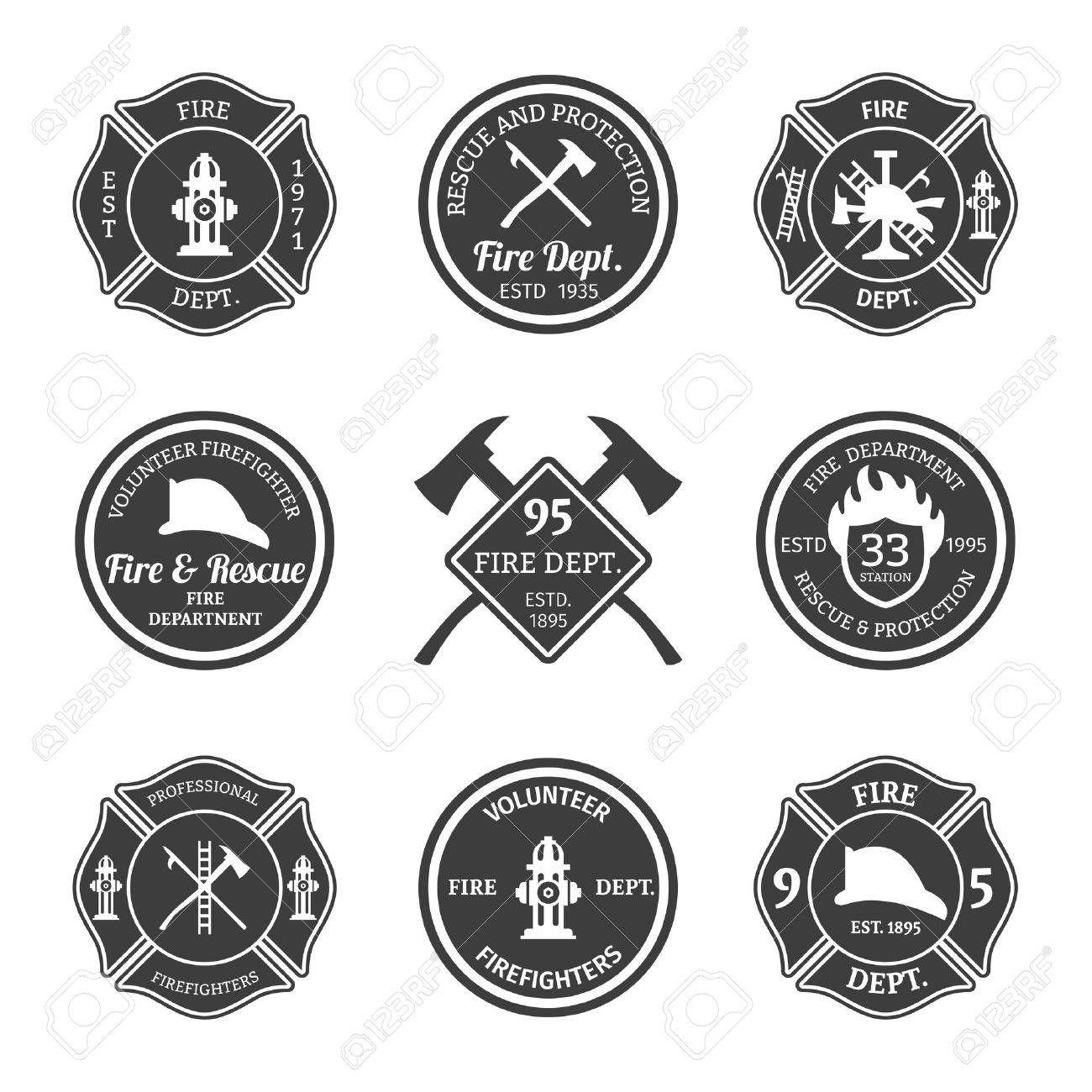 Fire Department Professional Firefighter Equipment Black Emblems Set Isolated Vector Illustration Spon Fi Feuerwehr Logo Feuerwehrmann Feuerwehr Abzeichen