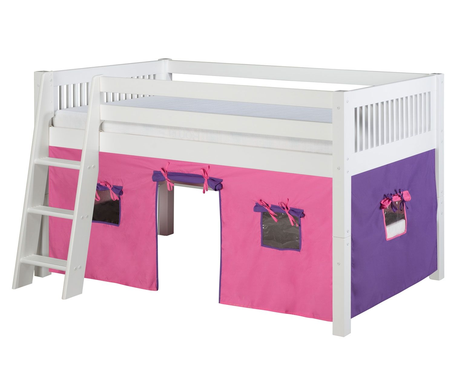 Loft bed with slide and desk  Camaflexi Low Loft Bed with Pink Tent Twin Size White  Pinterest