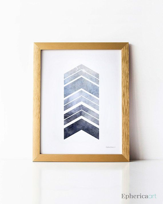 Grey blue wall art Chevron decor Gray blue wall by EphericaArt