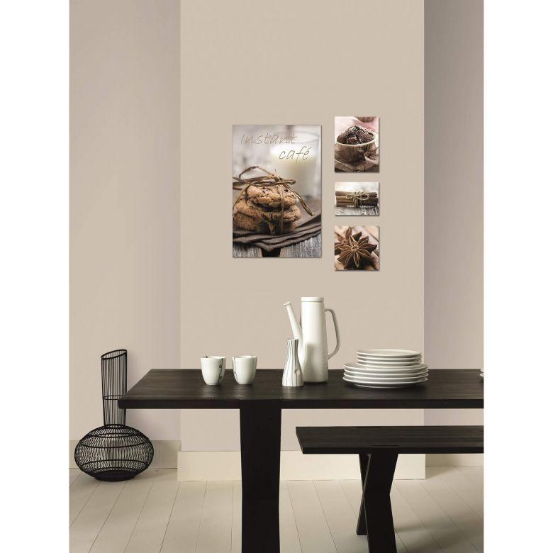 4-er Set Leinwandbild COOKIES braun, beige Beige and Walls - wohnzimmer bilder braun beige