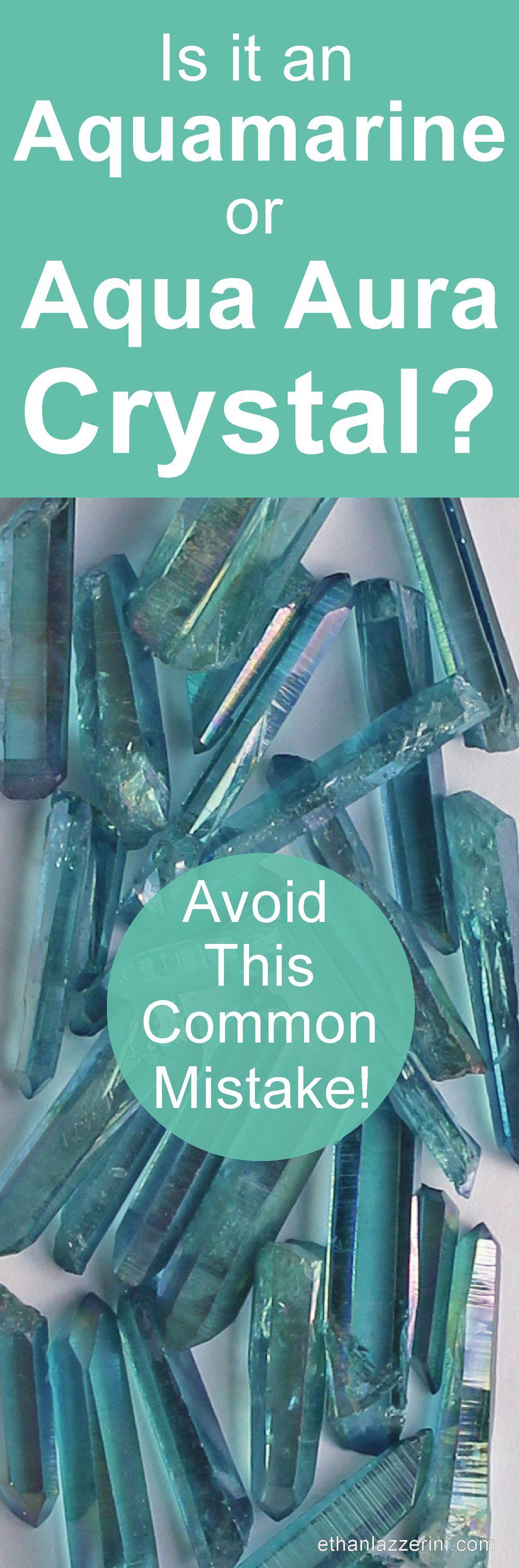How to identify Amamarine crystals from Aqua Aura Quartz crystals...