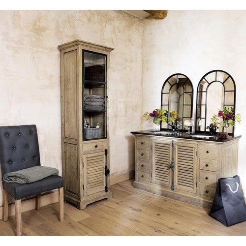 Vitrine En Bois Recycle L 52 Cm Meuble Double Vasque Mobilier De Salon Et Salles De Bains Style Campagne