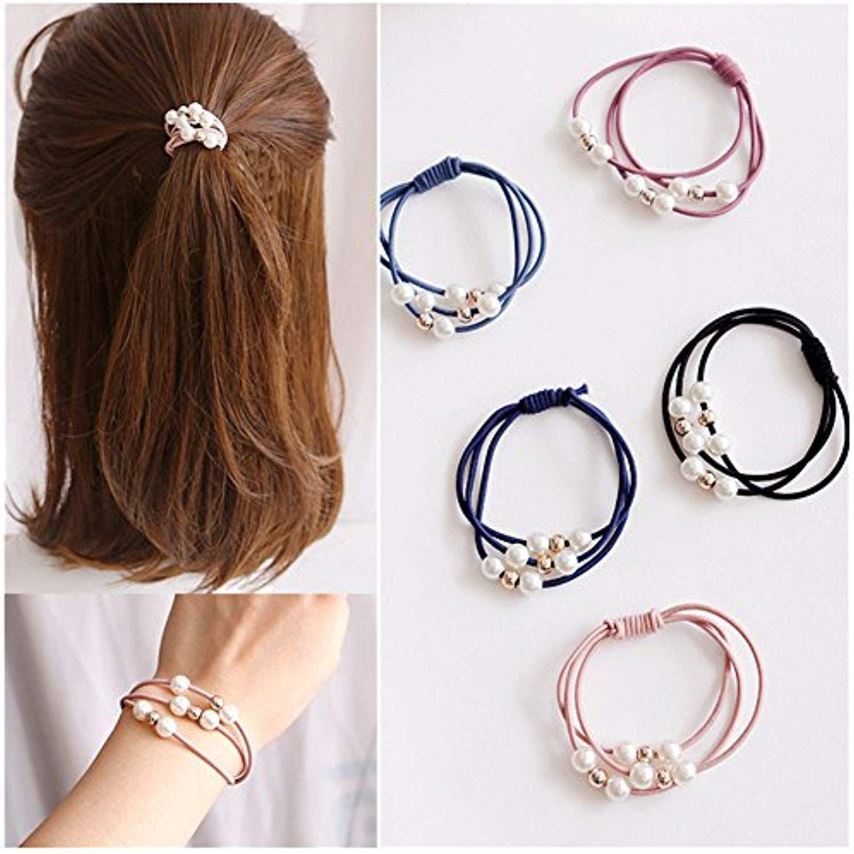 10Pcs Women Pearl Elastic Head Rop Ring Hairband Ponytail Multilayer Holder