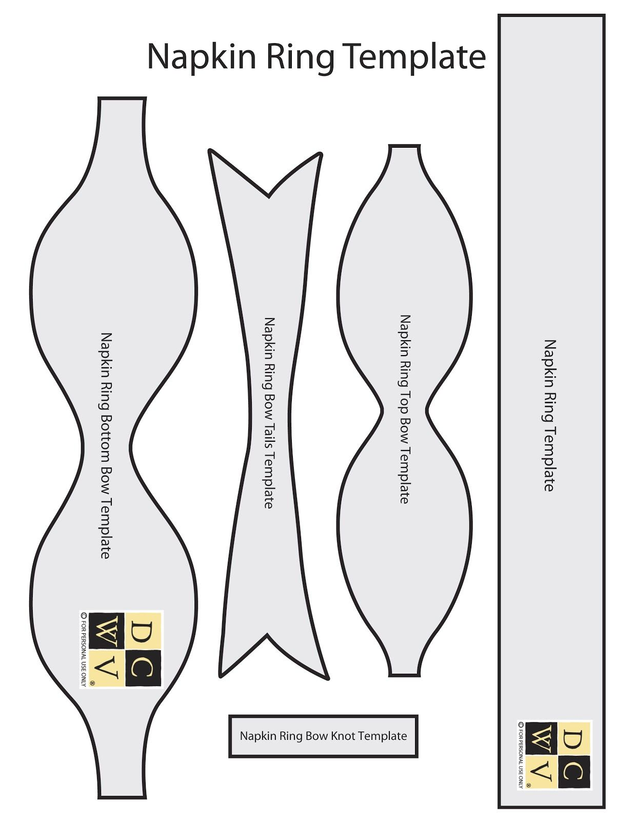 Napkin ring template Printables Pinterest – Bow Template