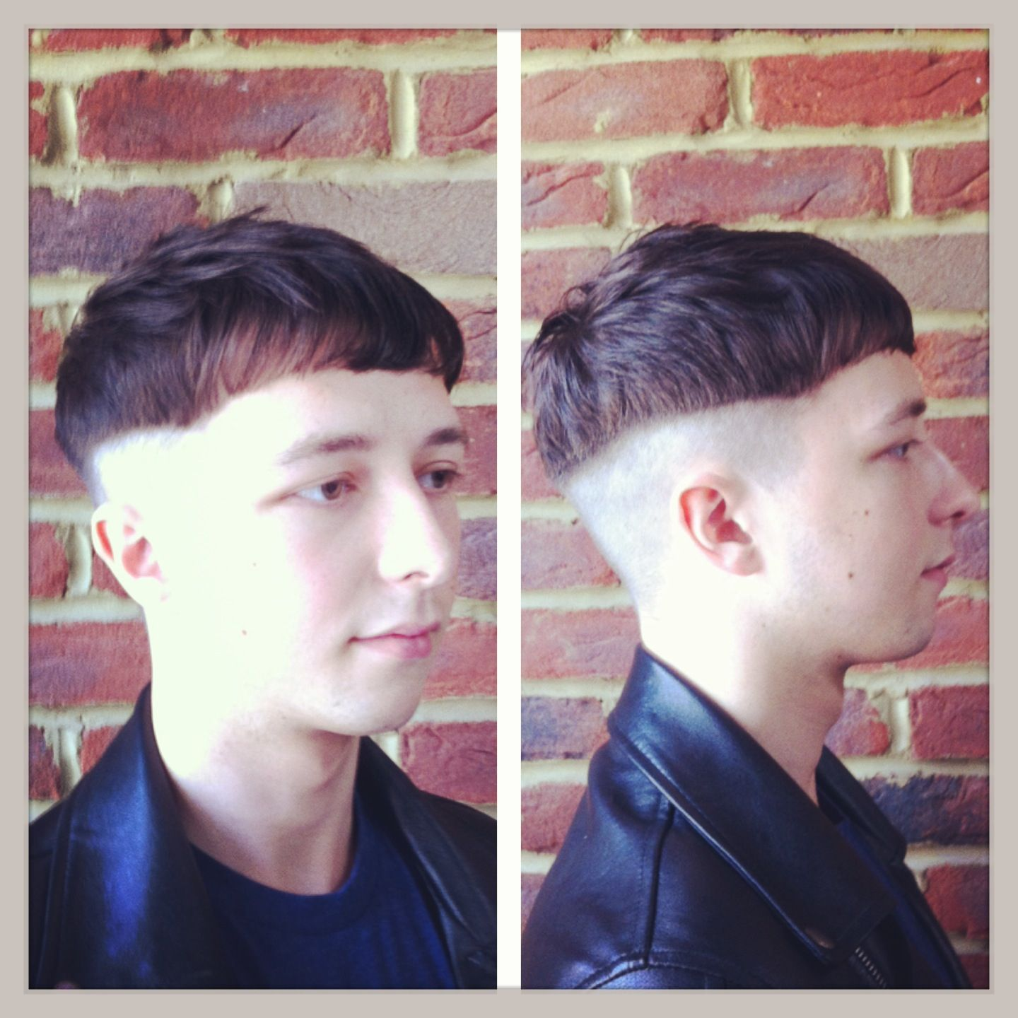 Gents haircut. Shaved up to a weight-line. Textured through the top ...