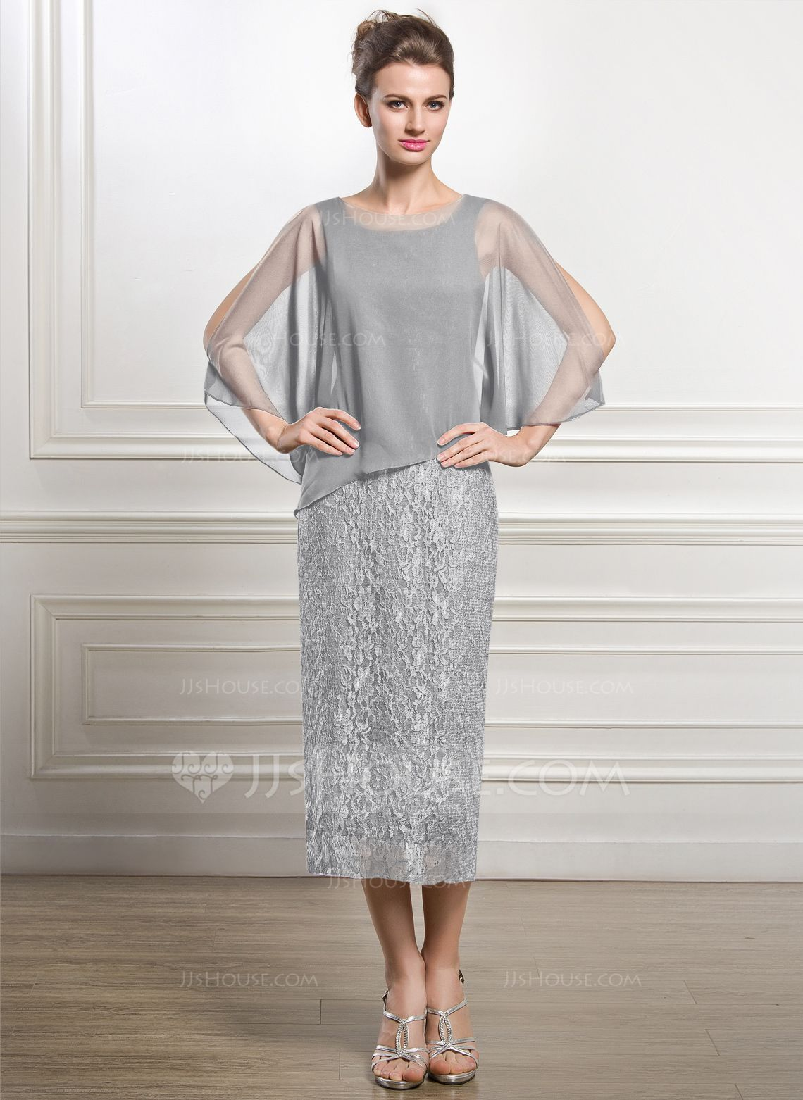 Mother of the groom dresses for outdoor wedding  SheathColumn Scoop Neck TeaLength Chiffon Lace Mother of the Bride