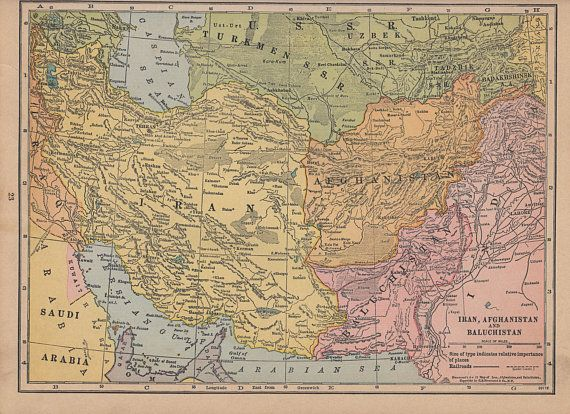 Vintage 1935 Atlas Map of Iran, Afghanistan, Balochistan and ... on