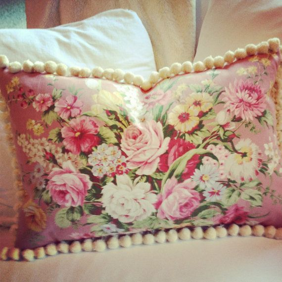English cabbage rose 1930s pink english cabbage rose floral vintage fabric pillow