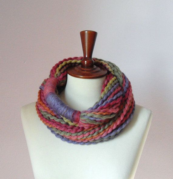 Infinity Scarf Green Pink Green Blue Orange  Chunky  by Silvia66, $45.00
