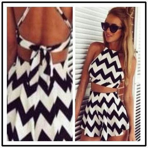 Striped Mini Skirts Party Dresses Sexy Beach Dresses Women Short Party 2015 New Arrival Occident Fashion Show Stripe Sleeveless Suits 8722# - Roupas e Moda - 1