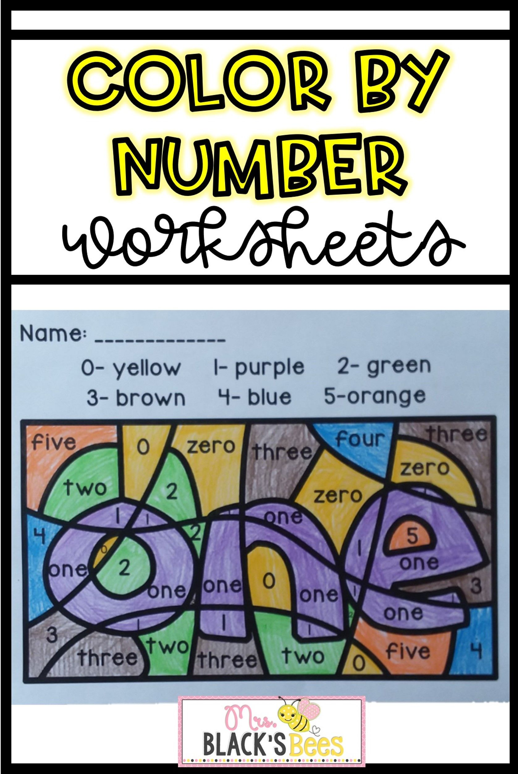 Number Words Color By Code