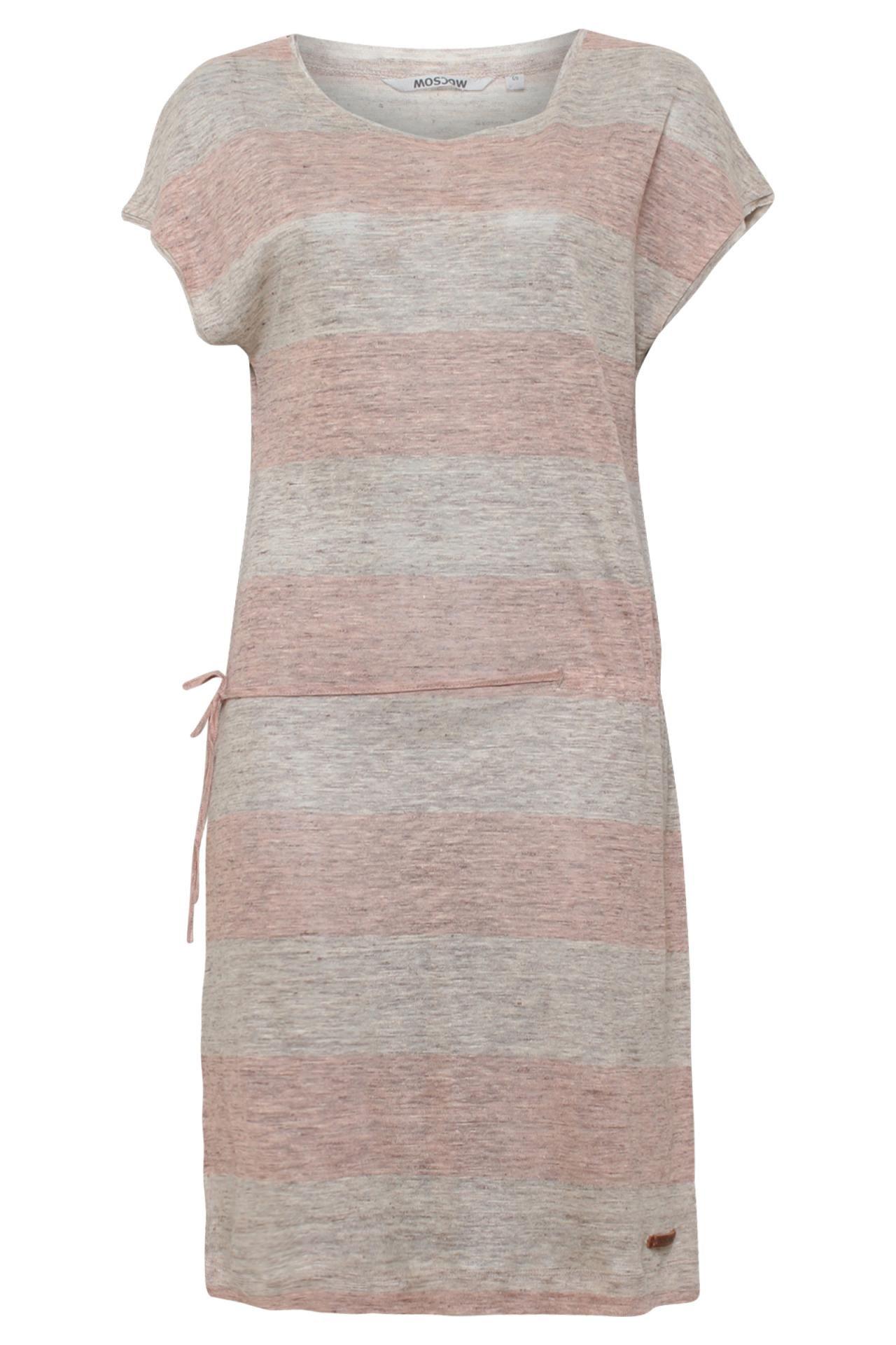 Roze met grijze gemeleerde linnen jurk in streep patroon van het ...