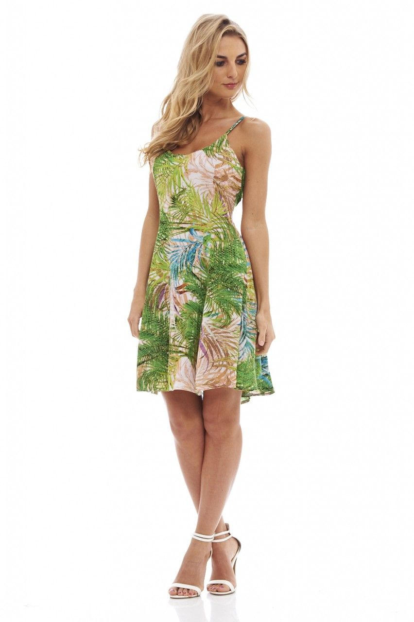 8d53afd09fd Casual green-multi printed summer dress with cut out sides is gorgeous for  summer! The thin straps elongate your top half and the slightly fit flare  skirt ...
