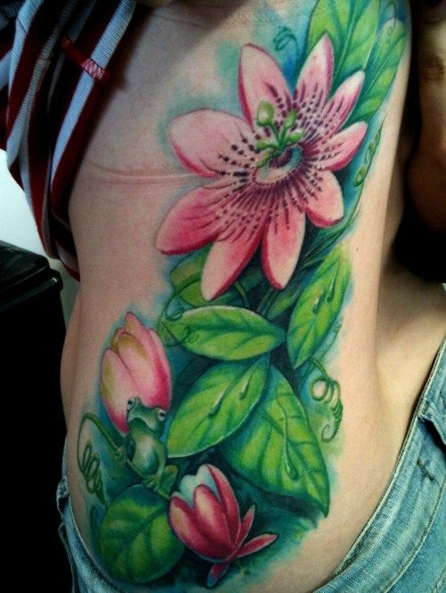 a30d97aff9c84 Frogs and flowers Water Lily Tattoos, Lily Flower Tattoos, Frog Tattoos,  Flower Tattoo