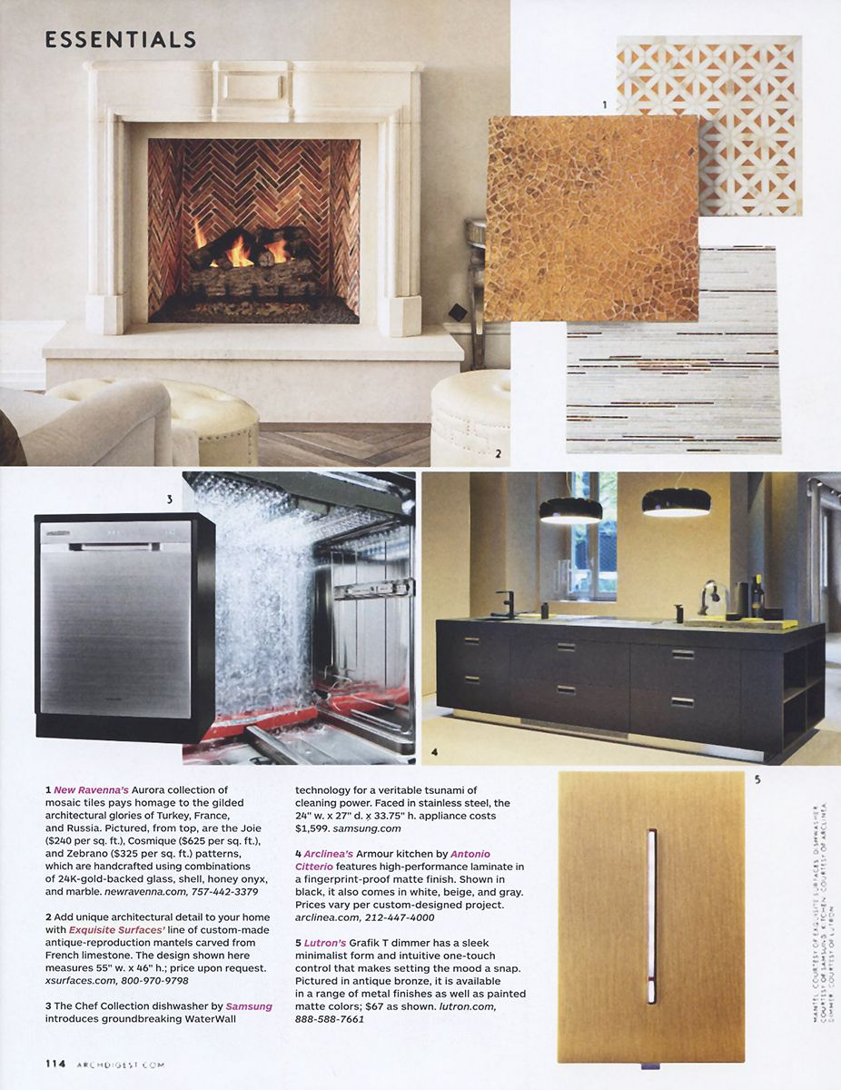 """""""Essentials"""" - Exquisite Surfaces custom reproduction french limestone fireplace; Architectural Digest, November 2014"""