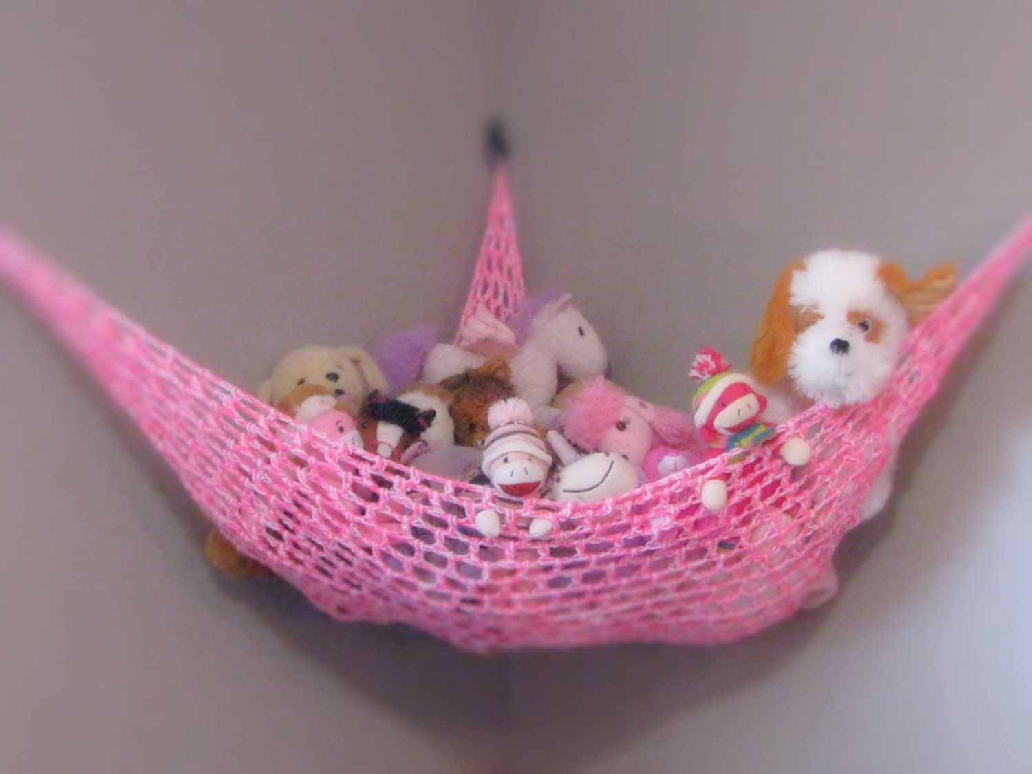 Stuffed Animal Storage Hammock in Pink and White. $29.95, via Etsy ...