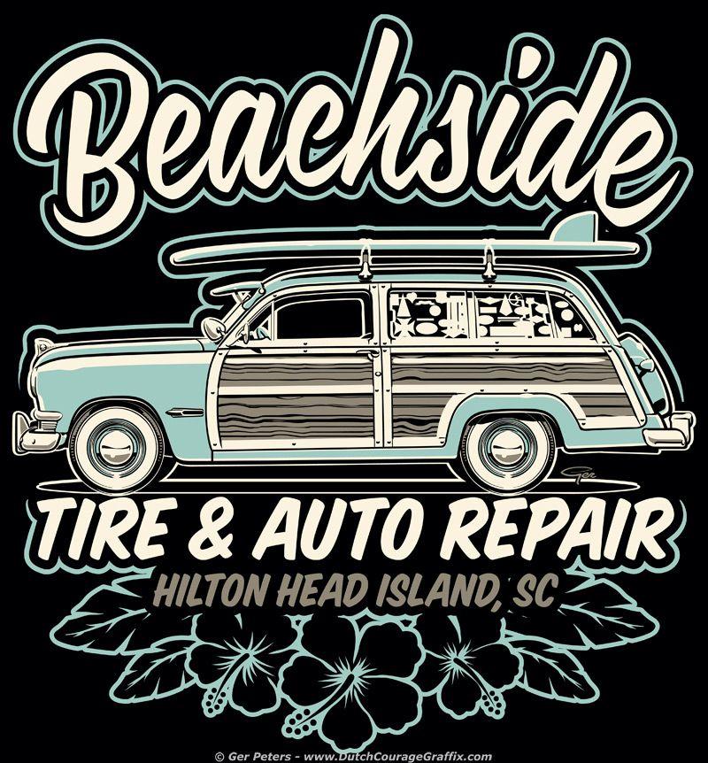Beachside Tire & Auto Repair Tshirt Ford shoebox woody