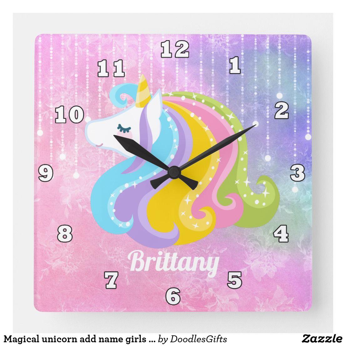Magical unicorn add name girls wall clock