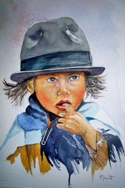 Tableau Peinture Aquarelle Enfant Aquarelle Portrait Fillette